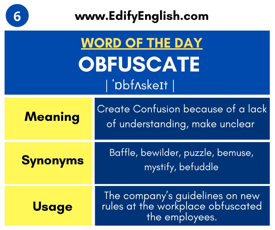 Obfuscate - Meaning, Synonyms, Antonyms and Usage